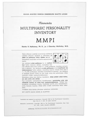 MMPI - Minnesota Multiphasic Personality Inventory